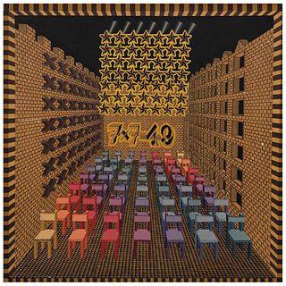 "PEDRO FRIEDEBERG, 7 x 7= 49, 1977, Signed, Oil on wood, 14.3 x 14.3"" (36.5 x 36.5 cm)"