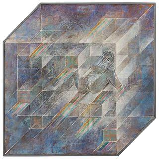 """ARNALDO COEN, Lo sé que a cada instante, 1975, Signed, Acrylic on canvas, 43.5 x 43.7"""" (110.5 x 111 cm)"""