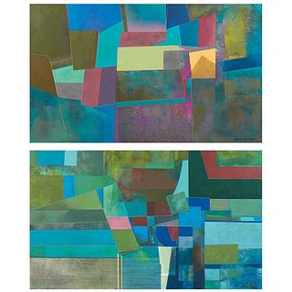 """JORGE FLORES, Untitled, Signed on both sides, Acrylic on wood, double view, 68.8 x 41.3"""" (175 x 105 cm) each, Pieces: 2"""