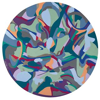 """ALEJANDRA PONCIANO, Neu, from the series Connections, Signed and dated 19, Acrylic on canvas, 47.2"""" (120 cm) in diameter, Certificate"""