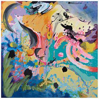"""AIDEE DE LEÓN, La transformación de la materia no. 6, 2016, Signed front and back, Oil and acrylic, 59 x 59"""" (150 x 150 cm), Certificate"""
