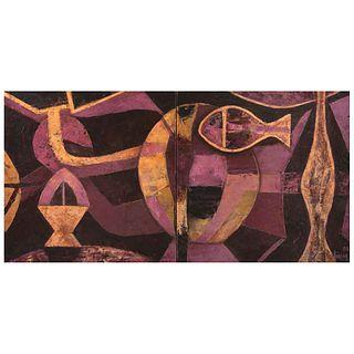 "ÓSCAR GUTMAN, Retrato de oros y magnetos, Signed and dated 08, Encaustic on wood, diptych, 19.6 x 39.3"" (50 x 100 cm)"