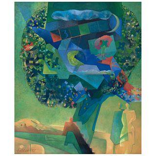 """GISELA TOBLER, El día verde, Signed and dated 92, Oil on canvas, 47.4 x 39.3"""" (120.5 x 100 cm)"""