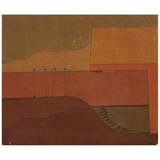 "CARLOS CUÉLLAR, Untitled, Signed and dated 67 on front, Signed and dated 1967 on back, Oil and sand on canvas, 39.3 x 47.2"" (100 x 120 cm)"