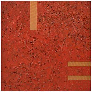 "JULIÁN DÍAZ VALVERDE DIVAL, A la sombra del fuego, Signed on front, Signed and dated 2016 on back, Oil/canvas, 31.4 x 31.4"" (80 x 80 cm), Certificate"