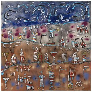 """CARLOS VIVAR, Foráneo, Signed and dated 20 on front, Signed on back, Oil and sand on canvas, 39.3 x 39.3"""" (100 x 100 cm), Certificate"""