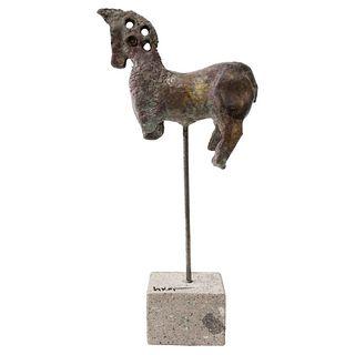 "CARLOS VIVAR, Caballito de bronce II, Signed, bronze sculpture on stone base, 11.6 x 5.1 x 1.9"" (29.5 x 13 x 5 cm), Certificate"