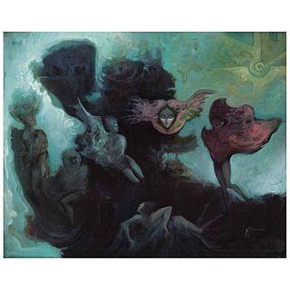 """MANUEL BUENO, Fantasía de una sombra, Signed, Oil on canvas, 15.7 x 19.6"""" (40 x 50 cm)"""