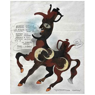 """PEDRO FRIEDEBERG, Equinocafetera lunática, Unsigned, Dated 20 Nov 2000, Ink on paper, 10.2 x 8.2"""" (26 x 21 cm)"""