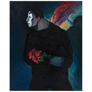 "ALFREDO ALCALDE GARCÍA, Mimo con flores, Signed on front and dated 2020 on back, Oil/linen, 39.3 x 31.8"" (100 x 81 cm), Copy of certificate"