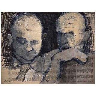 """TOMÁS GÓMEZ ROBLEDO, Untitled, Signed and dated 012, Ink and acrylic on newspaper, 8.2 x 10.8"""" (21 x 27.5 cm), Certificate"""