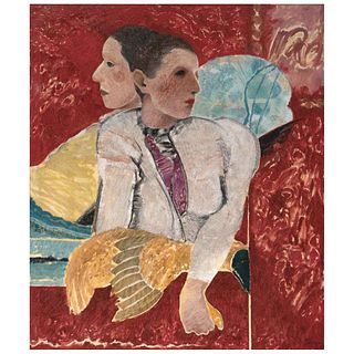 """JORGE ALZAGA, La pareja, Signed and dated 85 front and back, Oil on canvas, 50.9 x 43.1"""" (129.5 x 109.5 cm)"""