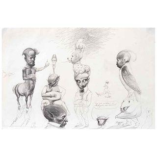 "ROBERTO FABELO, Personaje con luna, Signed and dated 1989, Graphite pencil on paper, 9.8 x 14.9"" (25 x 38 cm)"