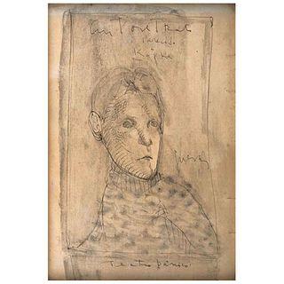 """JOSÉ LUIS CUEVAS, Autorretrato parecido a Kafka, Teatro pánico, Signed, Ink and watercolor on paper, 9.2 x 6.2"""" (23.5 x 16 cm)"""