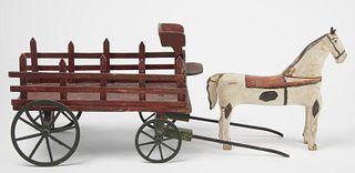 Folk Art Horse and Wagon Toy