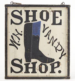 Fine Folk Art Shoe Trade Sign