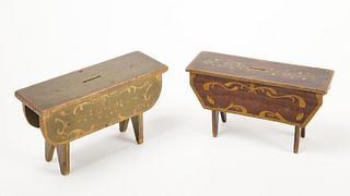 Pair of Decorated Bank Stools