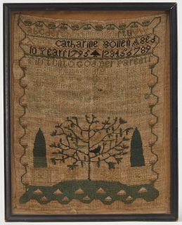 Needlework sampler with Bird Tree, C. 1795