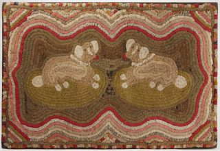 Fine Folk Art Dog Shirred Rug