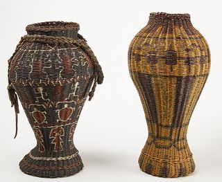 Two Folk art Painted Prison Baskets