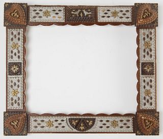 Fine Carved Tramp Art Frame with Hearts