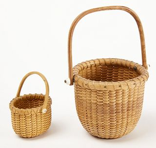 Two Miniature Nantucket Baskets