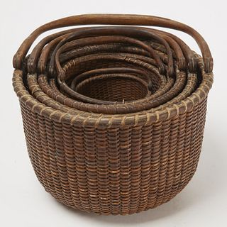 Rare Nest of 6 Early Nantucket Baskets