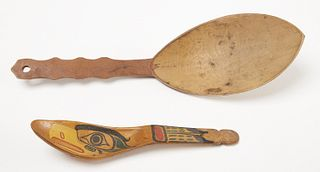 2 Carved Northwest Spoons