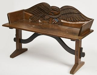 Wagon Bench with Carved Eagle