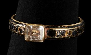 Important Colonial Captain Edward Tyng's Marriage and Mourning Ring dated 1730