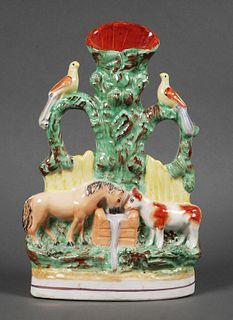 Antique Staffordshire Good Companions Spill Vase