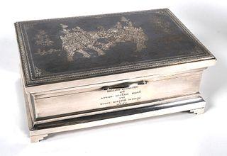 SIAM Sterling Niello Tobacco Humidor Box