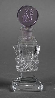 Vintage CZECH Perfume Bottle with Intaglio Stopper