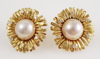 Pair 18K Yellow Gold Mobe Pearl Earrings
