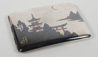 Japanese 950 Silver Niello Cigarette Case