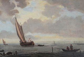 JOHAN ADOLF RUST, Harbor Scene, O/B