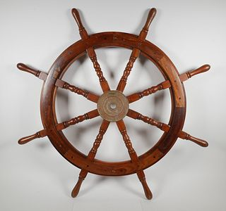 "37"" Nautical Wood and Brass Ship's Helm Wheel"