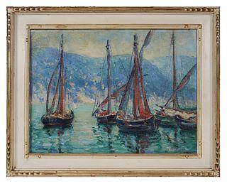 ROBERT PALLISER, Oil on Canvas Panel, Sailboats
