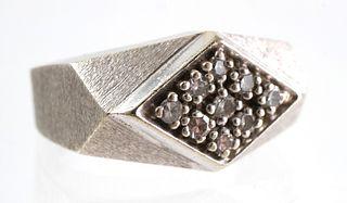 Retro 14K Brushed White Gold Diamond Ring