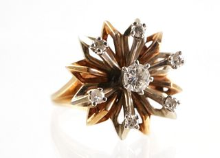 Vintage 14K Yellow Gold Floral Ring