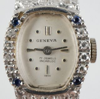 14K White Gold Geneva 17j Diamond Sapphire Watch