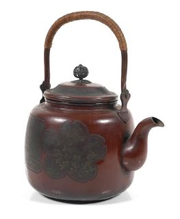 Antique Japanese Hand Hammered Copper Teapot