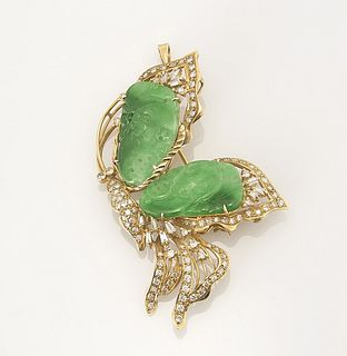 Jadeite Diamond & Gold Broche/Pendant