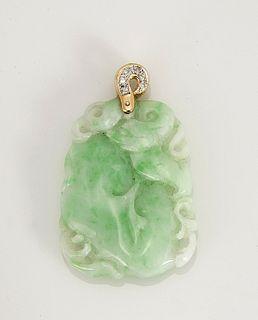Jadeite Gold & Diamond Pendant