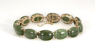 Spinach Jade Cabuchon & Yellow Gold Bracelet