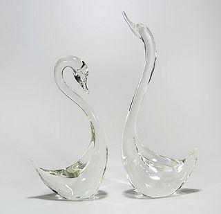 Two Cyrstal Swan Sculptures