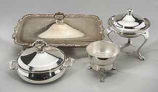 Group of Five Various Silver Plate Service Articles