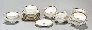 Group of Minton's English Gilt Porcelain Cups and Saucers