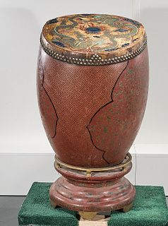 Chinese Lacquered Wood Drum With Stand
