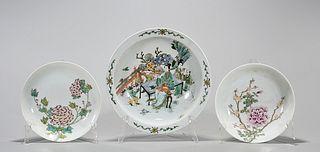 Group of Three Chinese Enameled Porcelain Dishes